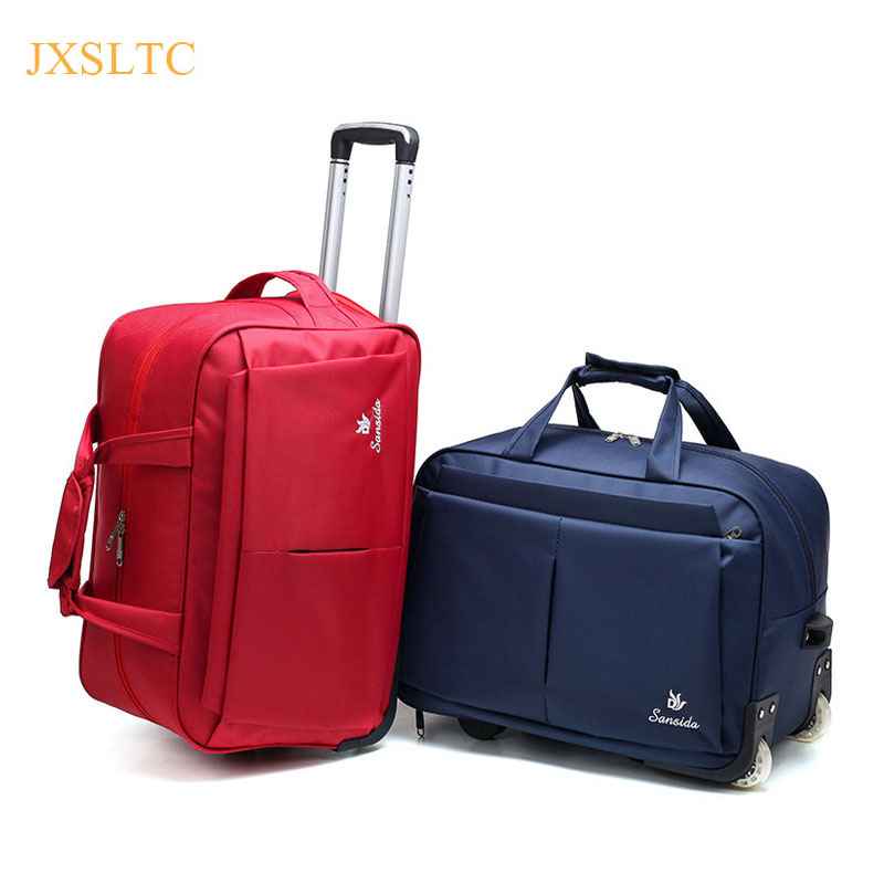 JXSLTC New Fashion Portable Luggage Bags Style Rolling Trolley Travel Bags Women&Men Handbags Women Travel Bags with Wheels