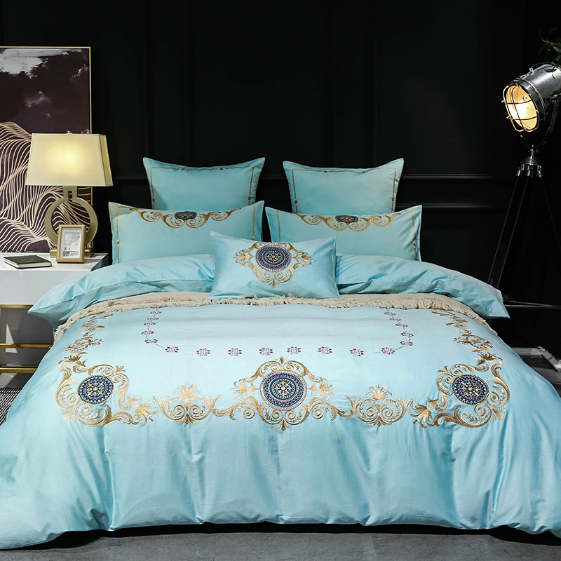Wathet 60S Egyptian Cotton luxury Embroidery Comfortable Bedding Set Queen King Size Duvet Cover Bed Linen Bed sheet Pillowcases
