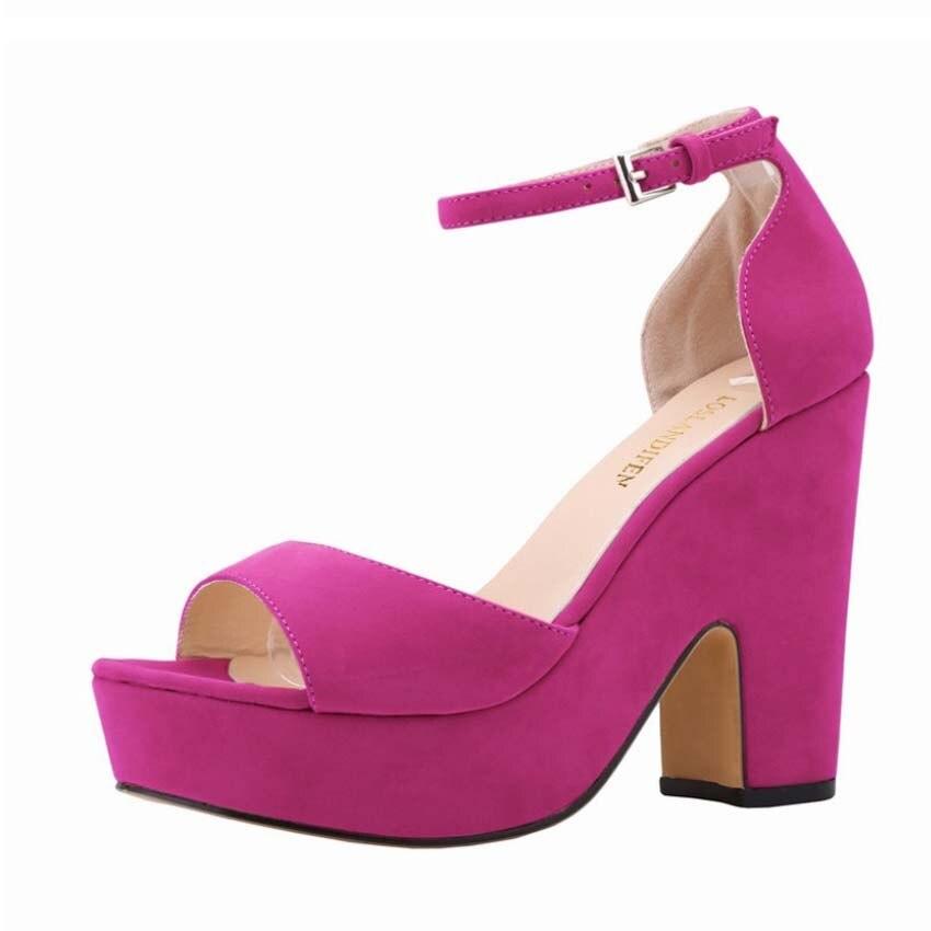 LOSLANDIFEN yellow black orange blue ankle strap mary jane suede platform chunky block high heel sandals