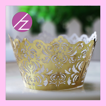 100pcs Delicate Laser Cut Carved Pattern Cupcake Wrapper Luxury Metallic Gold Wedding Decorations Banquet Party Favor