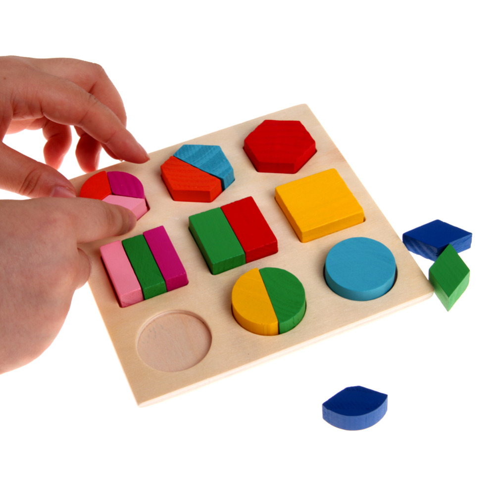 Kids Baby Wooden Learning Geometry Educational Toys Puzzle Montessori Early Learning Stacking Building Brain Training Toys