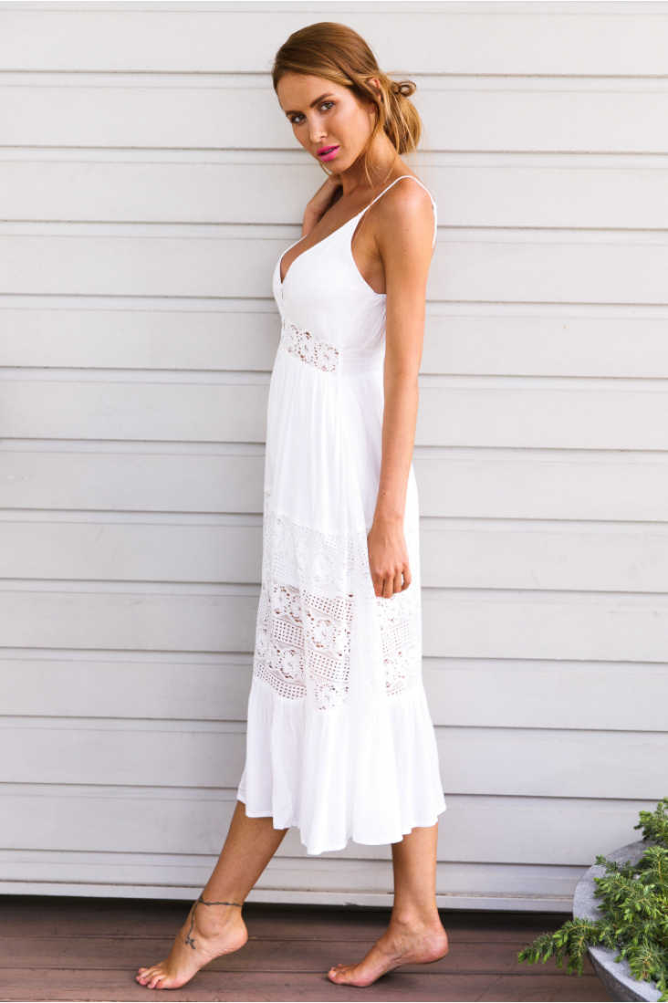 dee69a29c91d3 New Stylish Women Sexy V-neck Spaghetti Strap Summer Lace Vintage Boho Long  Evening Party Beach Dress Sundress Womens Dresses