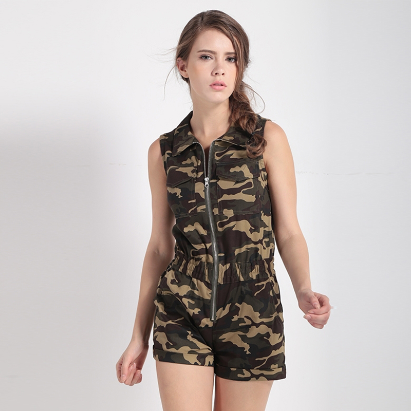 Lemon Brand 2018 Women Camouflage Jumpsuits Elastic Waist Sleeveless Packets Zipper Female Casual Jumpsuits Lady