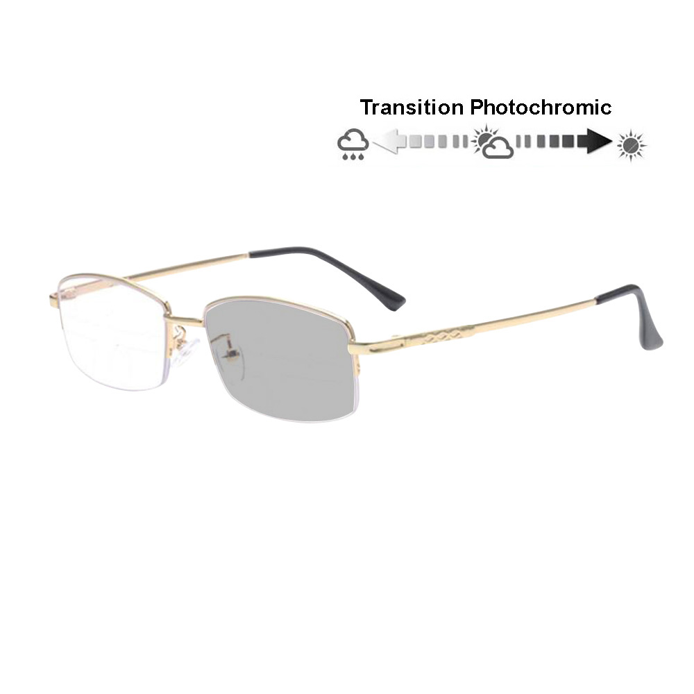 92b6707a15 Progressive Transition Photochromic Anti Blue Ray Computer Reading Glasses  Half Rim Metal Frame UV400 No Line Gradual Sunglasses-in Reading Glasses  from ...
