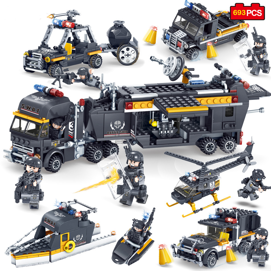 цена на 693pcs Military Army Swat Police Trucks Cars Helicopter Building Blocks Figures Compatible LegoeWW2 Wars Weapon Bricks Toys Kids