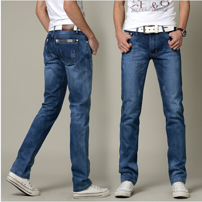 8426e62080 Summer Style Men s Jeans Straight Fit Classic Denim Jeans For Men Trousers  Brand Pants Blue Casual Long Jeans Men