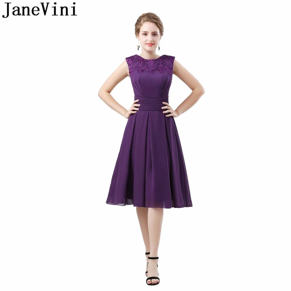 JaneVini 2018 Knee Length Purple   Bridesmaid     Dresses   A-Line Short Wedding Party   Dress   Lace Sleeveless Chiffon Prom   Dress   Formal