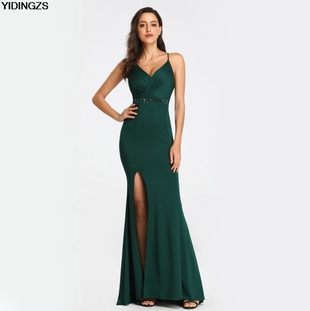 YIDINGZS Sexy Beads Evening Dress Women's Backless Strap Cross Slit Long Evening Party Dress YD1502