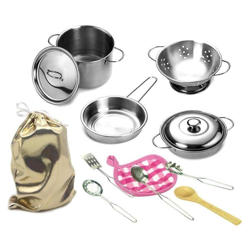 12pcs Simulation Kitchen Stainless Steel Cooking Pots Pans Food Kit Kids Pretend Play Tool Girls Mini Dolls House Accessories