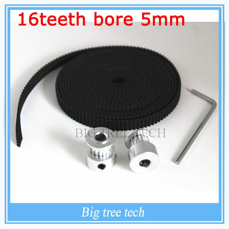 2Pcs 16-GT2-6 bore 5mm GT2 Pulley And 2m GT2-6mm Open GT2 Belt KIT For 3D Printer(4xM3 setscrews and 1xAllen Key