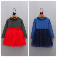 2016 Korean Children S Garment Autumn New Pattern Girl Baby Yarn Split Joint Dress Girl Concise