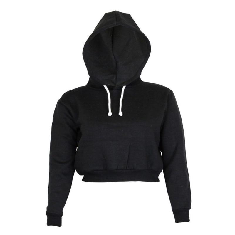 2019 Autumn Sweatshirt Full Short Hoodie Casual Clothes Women Long Sleeve Ladies Clothing Tops Plain Crop Top Hooded