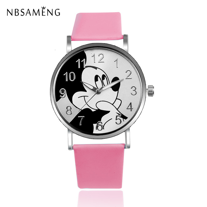 Fashion Women Watch Mickey Mouse Design Fashion Quartz Watches Leather Strap Quartz Clock Girls Kids Wristwatch Relogio Feminino