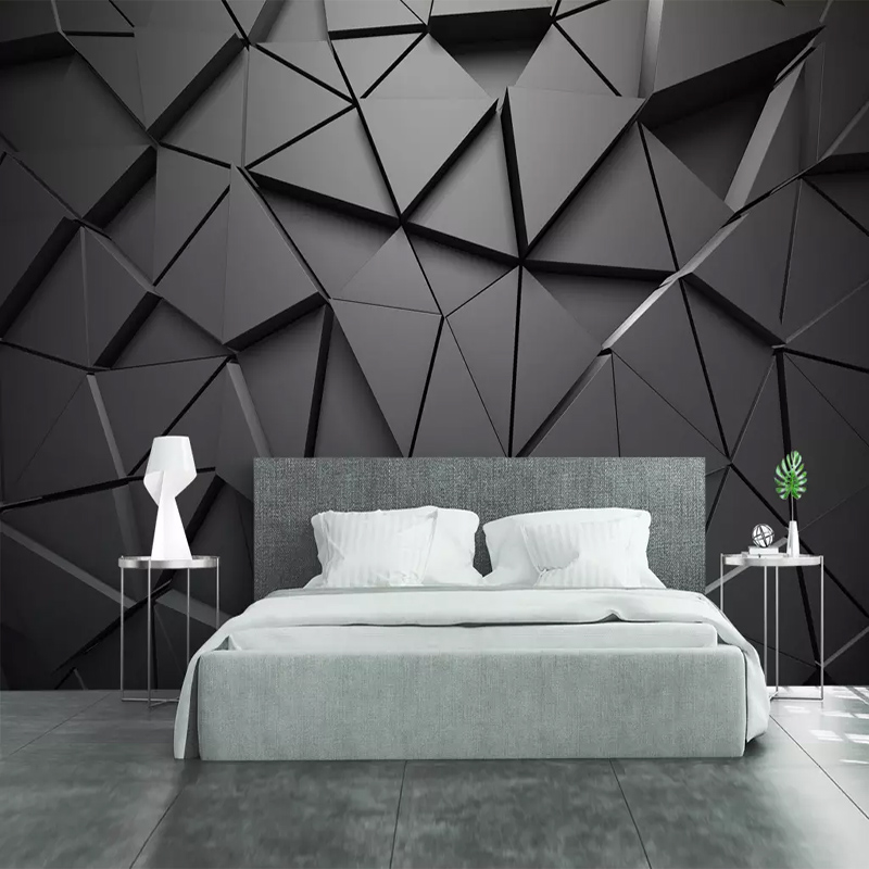 Modern Creative 3D Geometric Abstract Gray Triangle Large Mural 3D Wallpaper Living Room TV Wall Home Decor Wall Cloth 3D Fresco