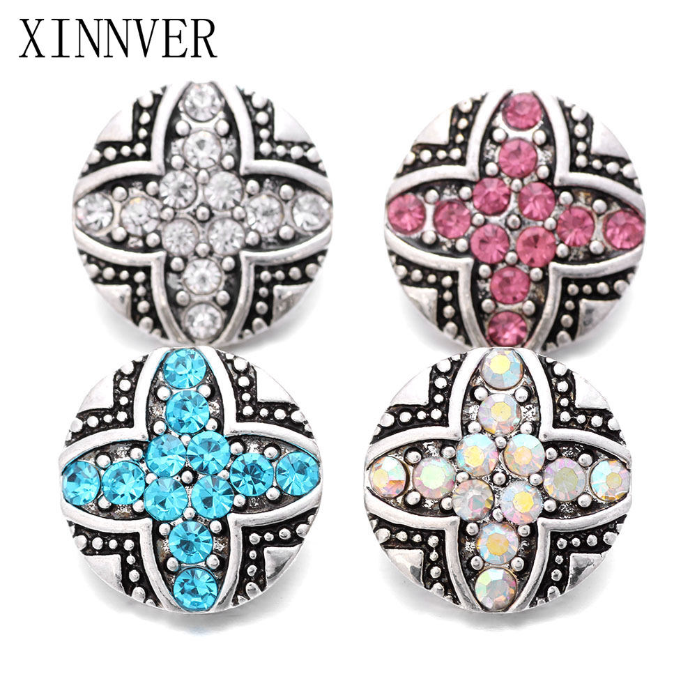 10pcs/lot Xinnver Snap Jewelry Cross Rhinestone Snap Buttons Fit 18MM Snap Bracelet For Women DIY Charms Jewelry ZA648