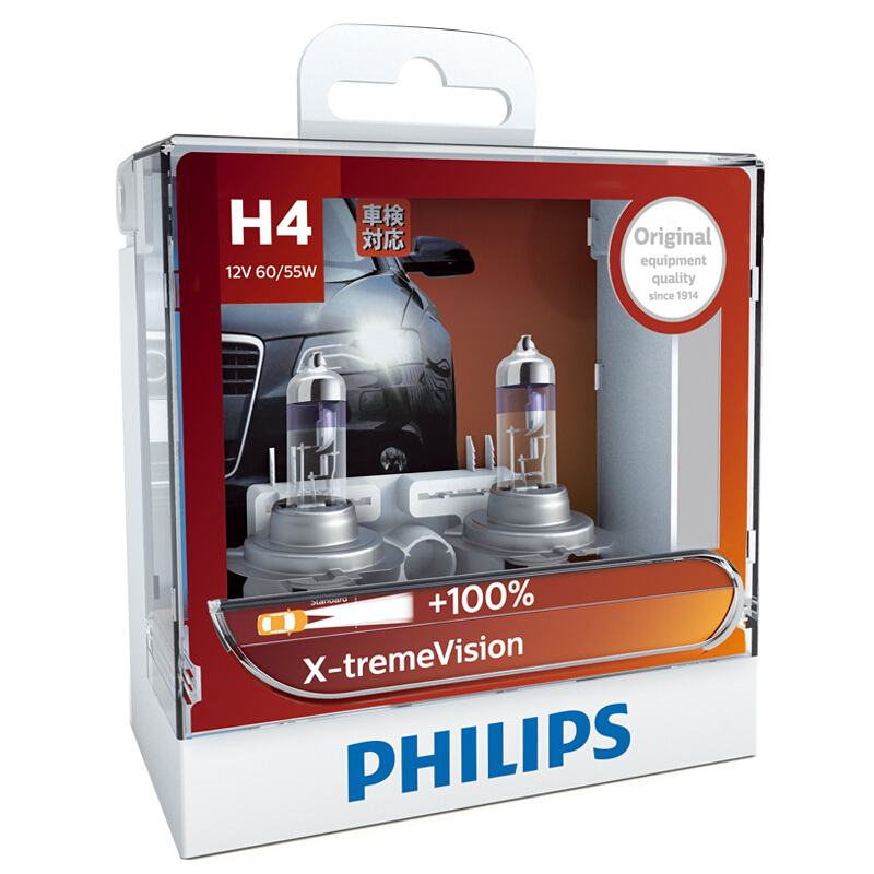 Philips Car-Headlight-Bulbs Lamps Halogen X-Treme-Vision 60/55W P43t 12V 9003 2X 12342XVS2
