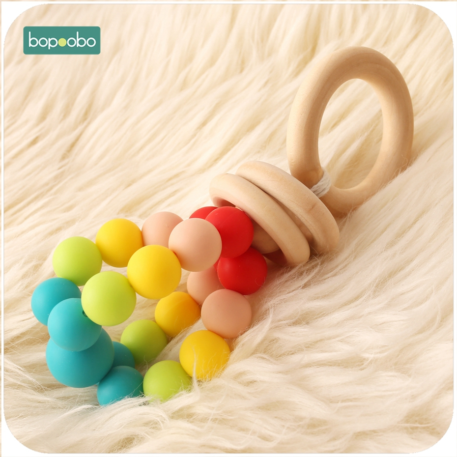 Bopoobo 1pc Baby Toys Food Grade Silicone Teether Beads Nursing Rattle Baby Teething Play Gym Car Teethers Montessori Toys