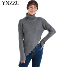 YNZZU 2019 Autumn new arrival O-neck women sweater Sexy hollow out lace up knitted pullover Female off shoulder knit tops YT562