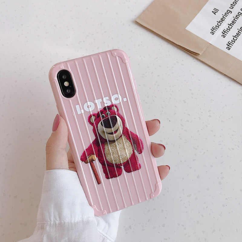 Bonita funda Rosa LOTSO Bears para iPhone X XR XS Max maleta equipaje para iPhone 8 7 6 6s Plus suave silicona TPU funda para el iPhone 7
