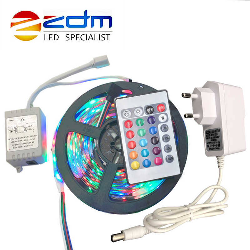 5 Meter 300 LED Tidak Tahan Air RGB LED Strip Light 3528 DC12V 60 LED/M Fleksibel Lampu String ribbon Tape Lampu Dekorasi Rumah