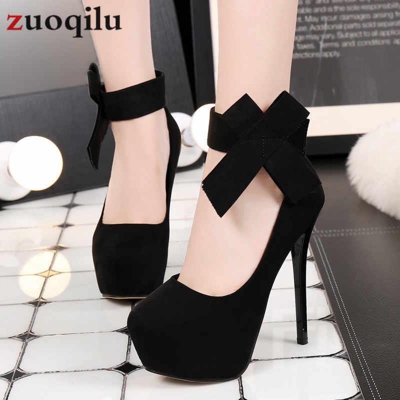 2019 platformu yüksek topuklu ayakkabılar kadın yay düğün ayakkabı 14 cm platform topuklu ayakkabılar stiletto gelin pompaları kadın ayakkabı # siyah