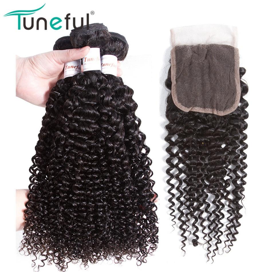 말레이시아의 곱슬 머리 3 묶음과 함께 Tuneful 레미 - 인간의 머리카락 (검은 색)