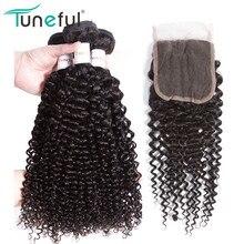 Malaizijos garbanotieji plaukai 3 Bundles with closure Tuneful Remy plaukai išplauti Ne Tangle Bouncy 100% žmogaus plaukų ataudų paketai su uždarymo