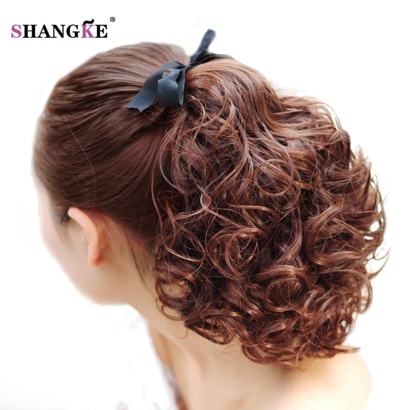 SHANGKE Short Clip Drawstring Curly Ponytail Hair Pieces - Syntetiskt hår - Foto 1