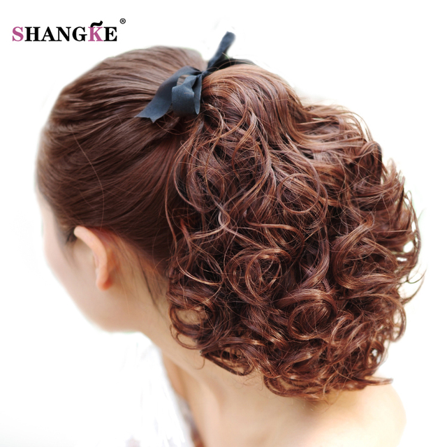 Shangke Short Clip In Drawstring Curly Ponytail Hair Pieces Heat Resistant Synthetic Fake Tail Horse
