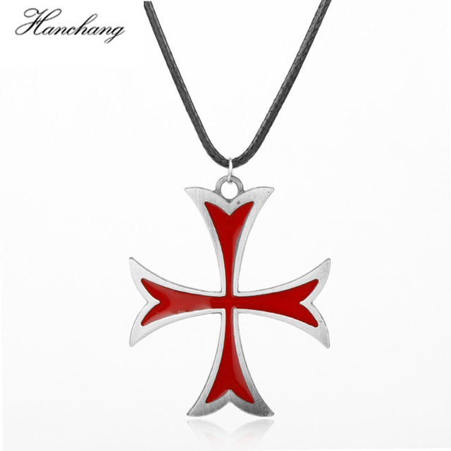 Hanchang hot game the assassins creed vintage knights templar cross hanchang hot game the assassins creed vintage knights templar cross pendant necklace for male fans jewelry aloadofball Images