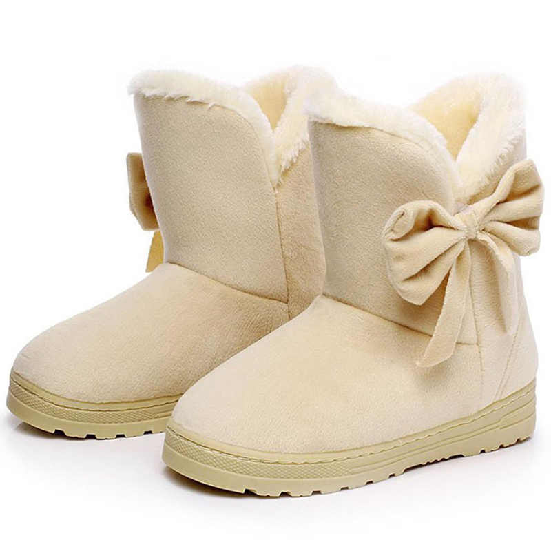 Women Boots Plush Insole Winter Shoes Women Super Warm Slip On Snow Boots With Bowtie Suede Botas Mujer Women Winter Boots