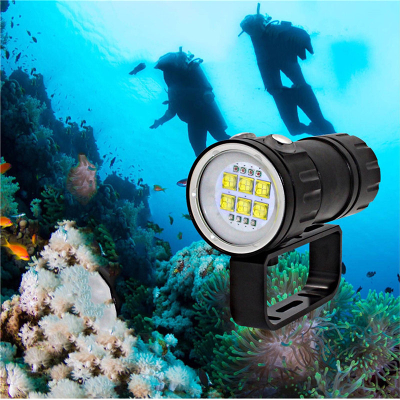 CLAITE QH14 300W LED Diving Flashlight Underwater 80M Photography Lantern Torch 6x 9090 White XML2+4x XPE Red R5+4x XPE Blue R5 waterproof diving light photography diver lamps camera flashlight 6x xml l2 4x xpe red 4x xpe blue led uv flashlight