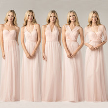 2016 Convertible Bridesmaid Dresses Blush Pink Custom Made Fashion A Line Formal Plus Size Junior Bridesmaids Gowns Floor Length