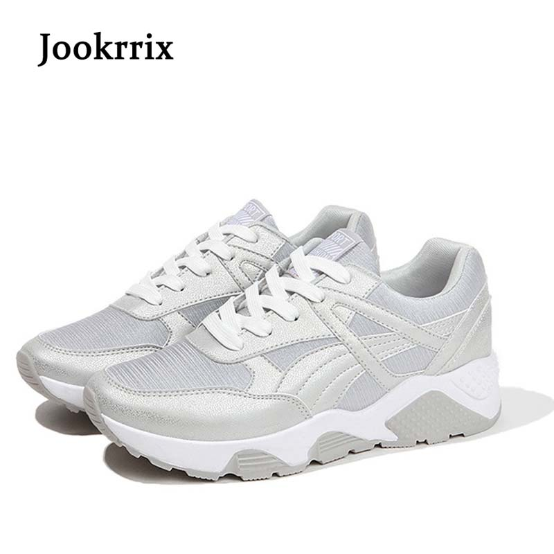 Jookrrix 2018 Spring Fashion Brand Lady Casual White Shoes Women Shoe Girl Leisure Sneaker Breathable Silvery Lace Up All Match