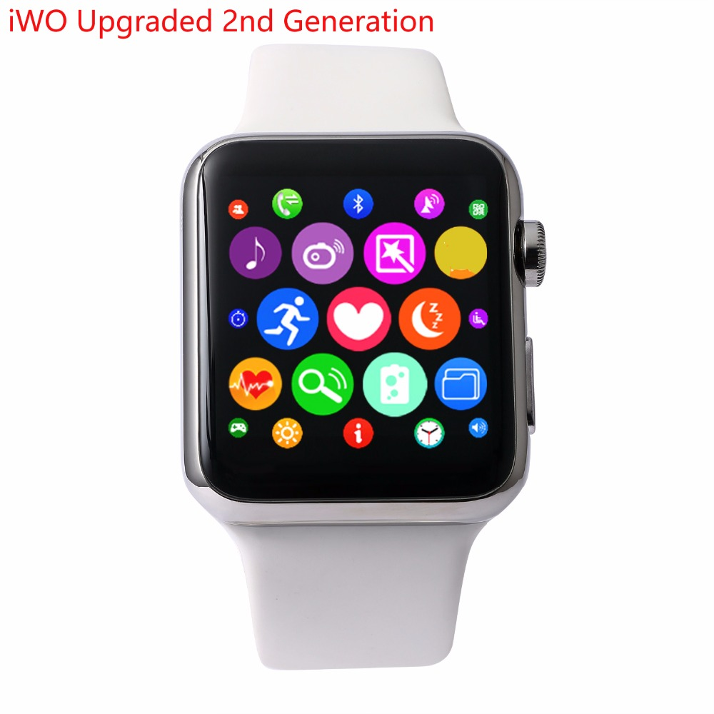 iWO Upgraded 2nd Generation Smartwatch MTK2502C 42MM Bluetooth Smart Watch Pedometer ECG Heart Rate Tester for Android iPhone