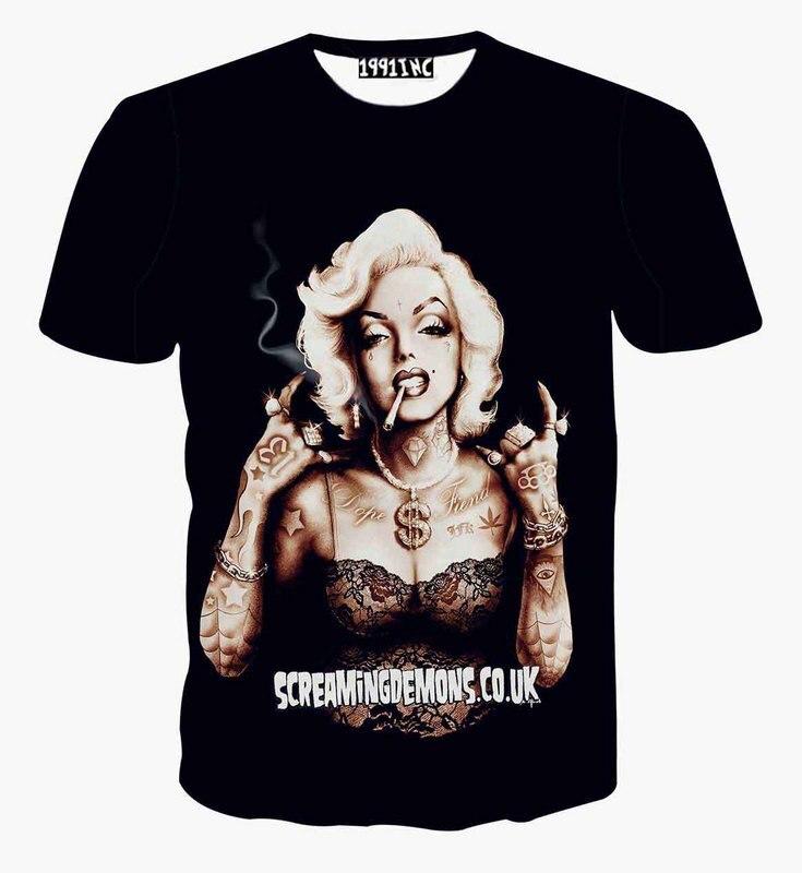 Hot Marilyn Monroe Gangster Tattoo Piercing 3D Print T-shirt Casual Summer Cotton T Shirts Short Sleeve Homme Loose Unisex Tops