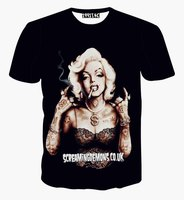 Hot Marilyn Monroe Gangster Tattoo Piercing 3D Print T-shirt Casual Summer Cotton T shirts Short Sleeve Homme Loose Unisex Tops