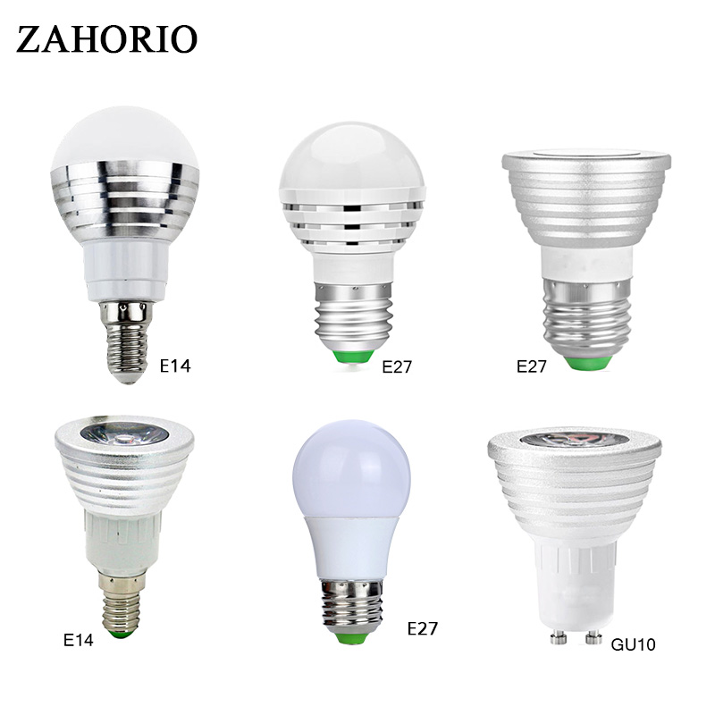 E27 RGB LED Bulb led Lamp AC85-265V E14 GU10 3W 5W 10W LED Spot Blubs Stage Night Lights Holiday lighting+IR Remote Controller