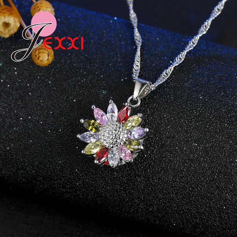 Beautiful Flower Wedding Jewelry Sets Multicolor Cubic Zirconia Inlayed 925 Sterling Silver Bridal Earrings Necklace Sets