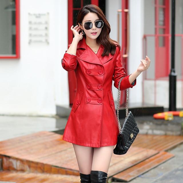 2017 new long Windbreaker double-breasted leather jacket large size women's clothing coat