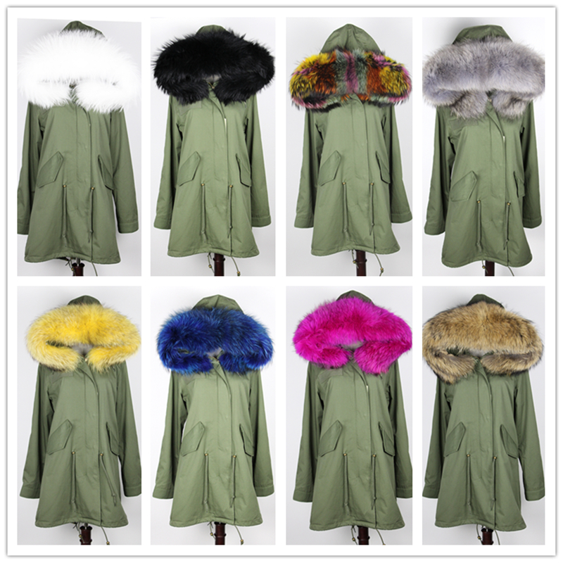 2016 new brand winter jacket coat long women parka With Raccoon Dog Fur Collar hooded natural real fur coat Thick warm Liner