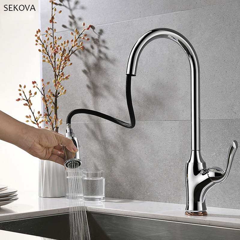 Chrome Plated Brass Kitchen Faucet Sprayer Pull Out 360 Swivel Single Handle Tap Kitchen Sink Cold And Hot Water Mixer