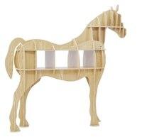 Original Design Luxury European DIY Side Desk Arts Crafts Home Decoration Wooden Horse Simulation Wood Furniture