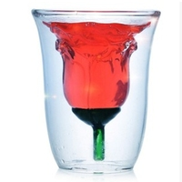 180ml Heat Resistant Coffee Beer Tea Milk Cup Rose Double Walled Glass Cup Flower Shaped Double