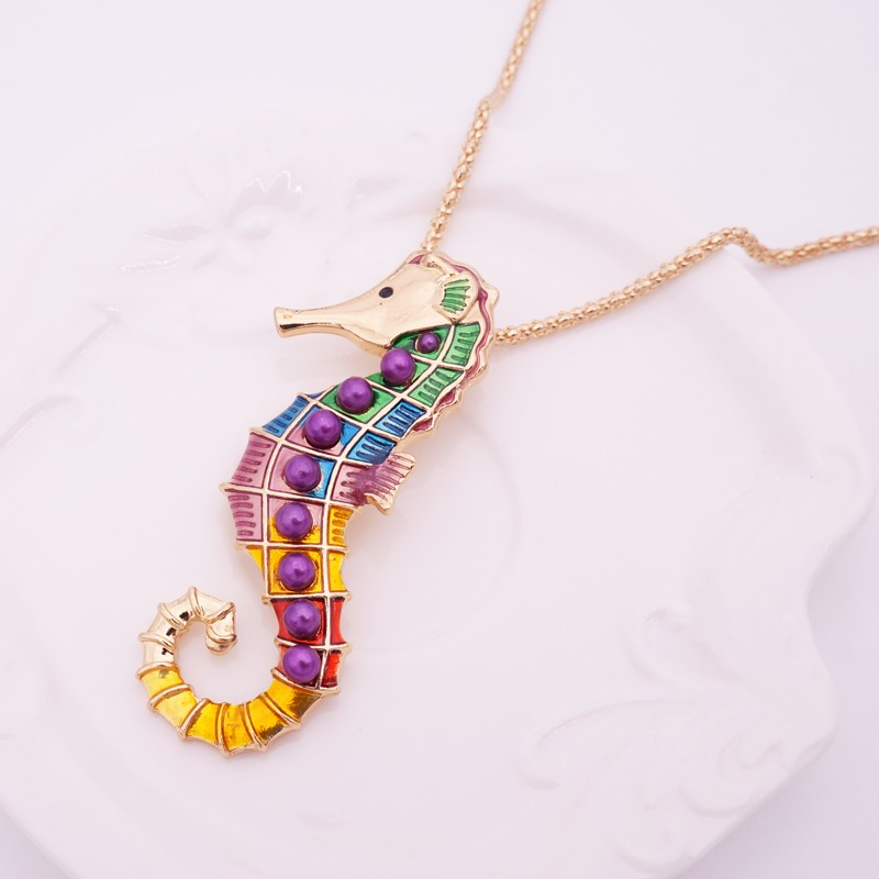 HTB1x85oLpXXXXaxaXXXq6xXFXXXh - Multicolor Seahorse Style Necklace with Earrings