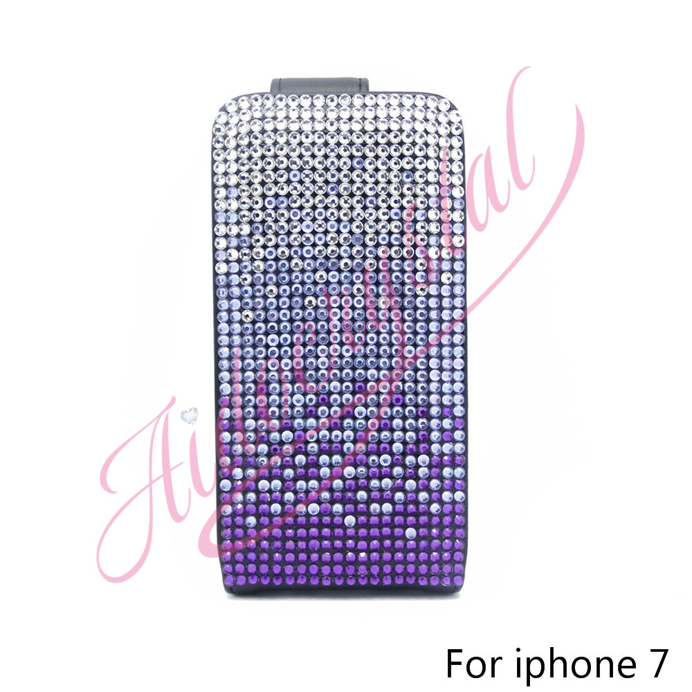 Aidocrystal purple color crystal high quality open down up flip cover for iphone 7 free shipping