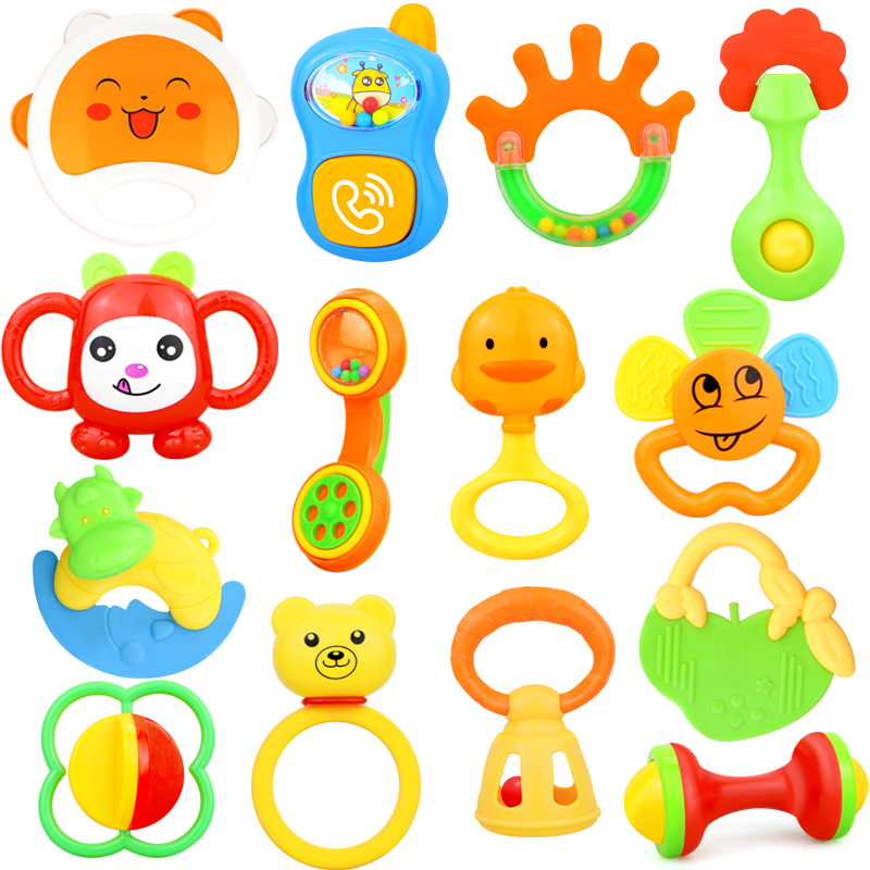 Cute Baby Rattles Hand Hold Jingle Shaking Bell Toys Cartoon Teether Music Grasp Mobiles Soft Crib Newborn Baby 0- 12 Months