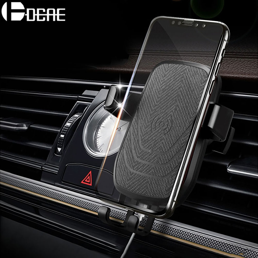 DCAE Car Mount Qi Wireless Charger For iPhone X 8 10W Quick Charger Fast Wireless Charging Car Holder Stand For Samsung S9 S8 S7