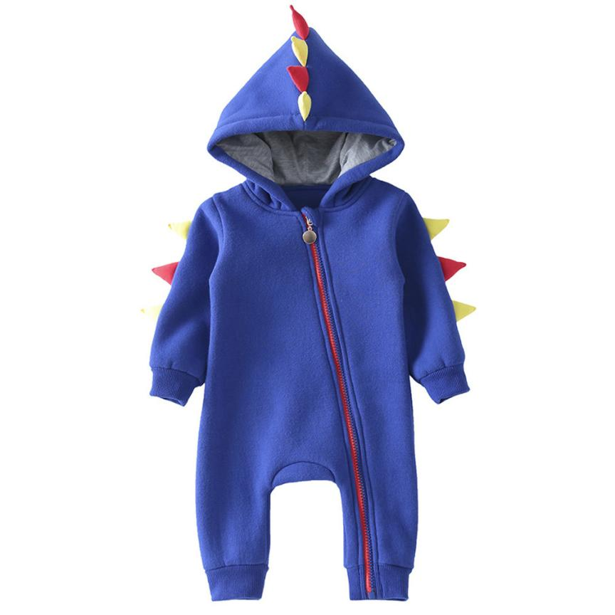 2018 Hot Sale   Newborn Kid Baby Boys Girls Zip Dinosaur Clothes Warm Jumpsuit Outfits  Comfortable And Breathable 6.15