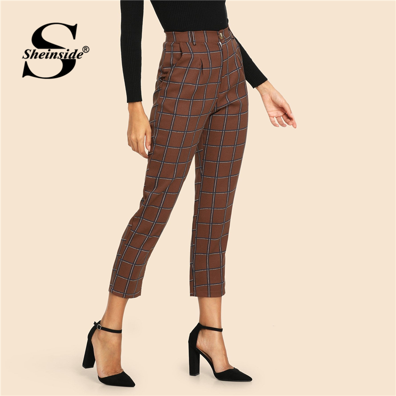 Sheinside Khaki Pocket Side Plaid   Pants     Capris   Mid Waist Trousers Women OL Work 2019 Spring Button Fly Casual Tapered   Pants